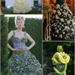 Set of Flower Dresses during fashion show in Moscow