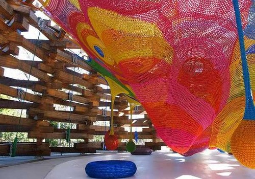 Colorful installation inside the construction located on the territory of Hakone Open-Air Museum