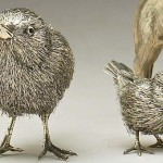 Chickens. Silver sculpture by Gianmaria Buccellati