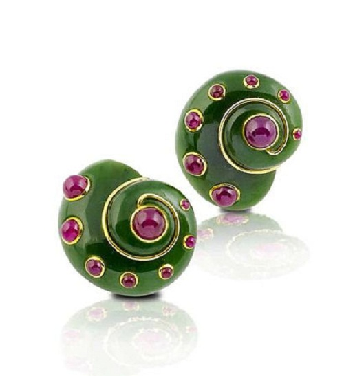 A pair of nephrite and ruby earclips, by Verdura