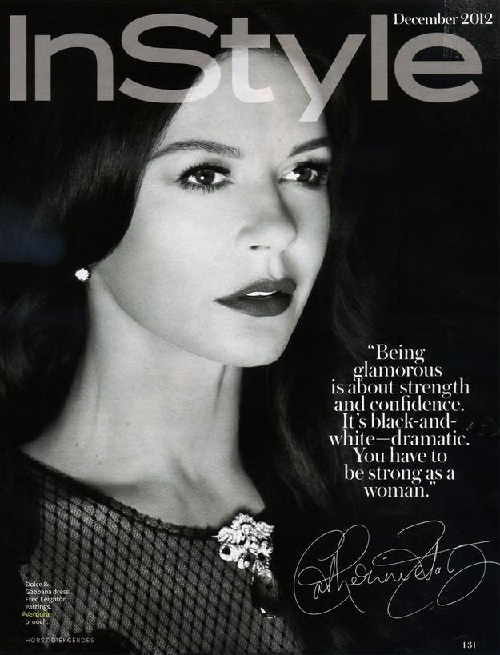 A stunning Catherine Zeta Jones models a vintage Verdura 'Winged' brooch in the December 2012 issue of InStyle