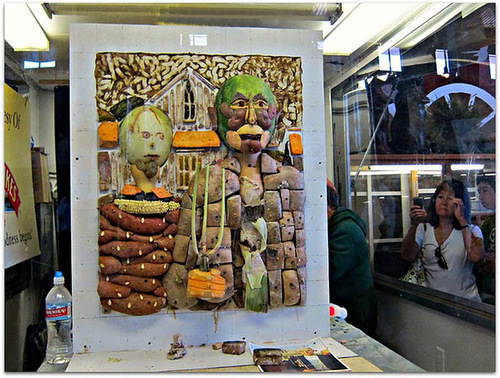 American Gothic. Granda Wood and vegetables. Work by Chinese artist Ju Duoqi