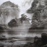 At the river. Lifting black ink, or Sui-boku-ga Chinese technique of painting. Artist Elf-archer