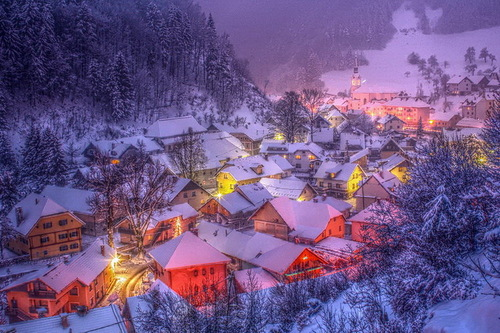 Red and blue colors of Winter night. Beautiful landscapes by nature photographer Tomaz Benedicic