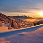 Sunset over mountains. Beautiful landscape by nature photographer Tomaz Benedicic