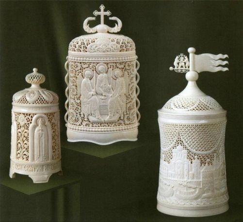Traditional Bone carving. Kholmogory, Russia