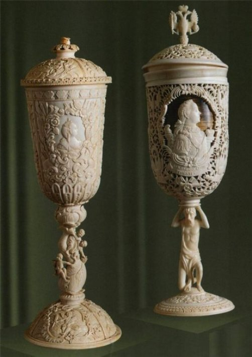 Cups. Bone carving. Kholmogory