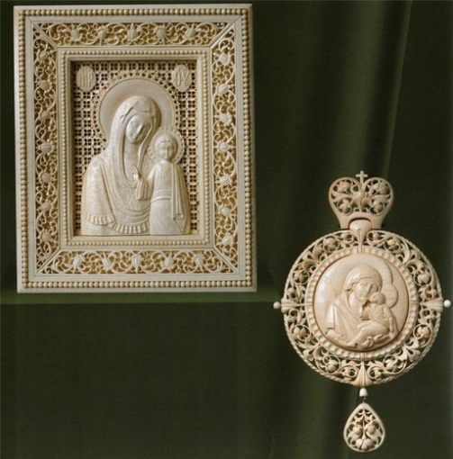 Icon and pendant. Traditional Russian craft Kholmogory bone carving