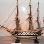Exhibited in the Museum British Navy ship model of human bones