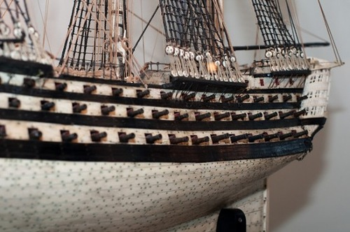Detail of British Navy ship models of human bones