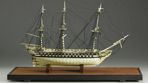 One of British Navy ship models of human bones