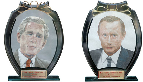 Bush vs Putin. Unique painting by Vietnamese artist Y Lan