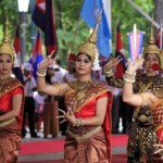 A traditional dance to mark the one-year anniversary of a U.N. decision to list the Preah Vihear temple as a World Heritage Site, in Phnom Penh, Cambodia on Tuesday, July 7, 2009