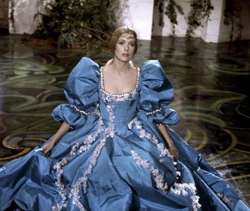 "Catherine Deneuve in beautiful dresses in ""Donkeyskin"" (Peau d'ane) 1970 movie"
