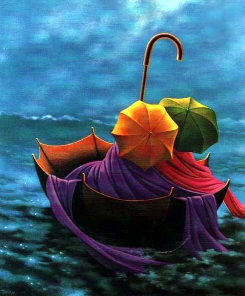 Boat-umbrella. Painting by Canadian artist Claude Theberge