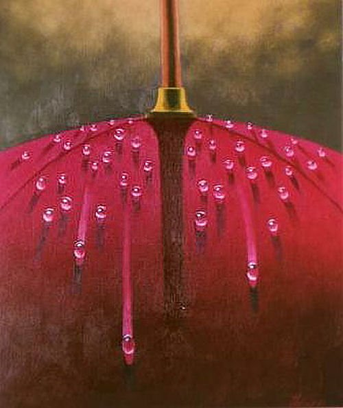 Crimson umbrella with drops. Painting by Canadian artist Claude Theberge