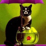 A cat with the aquarium. The Umbrellas in painting by Canadian artist Claude Theberge