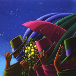 Moon night. The Umbrellas in painting by Canadian artist Claude Theberge
