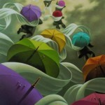 Flying away. The Umbrellas in painting by Canadian artist Claude Theberge