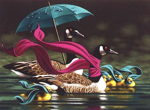On the pond. The Umbrellas in painting by Canadian artist Claude Theberge