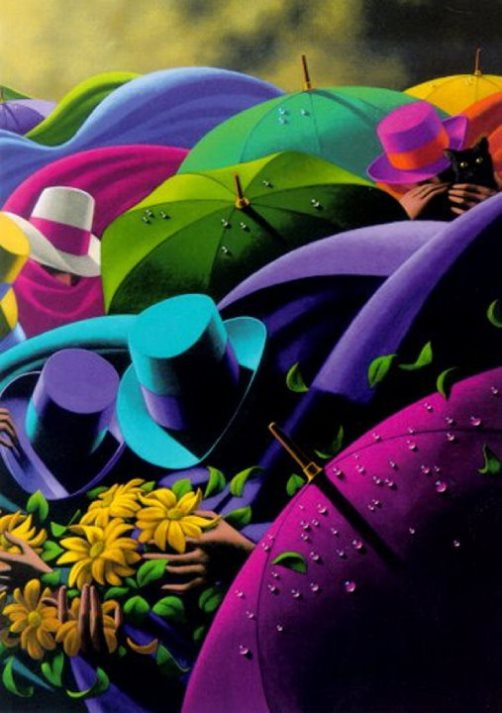 Colorful umbrellas and hats. Painting by Canadian artist Claude Theberge