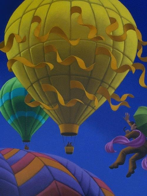 Hot-air balloons. Painting by Canadian artist Claude Theberge