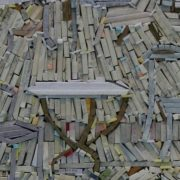 Closeup - wood-wrapped Newspaper Mosaics by Korean artist Lee Kyu-Ha