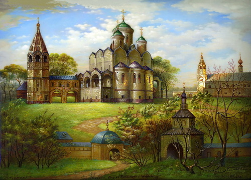 Unique Russian architecture in painting on lacquer boxes