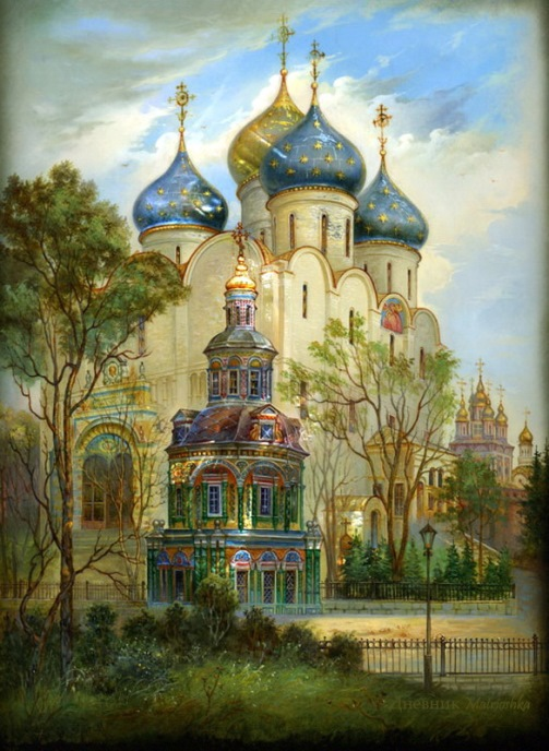 Beautiful Russia – painting on lacquer box