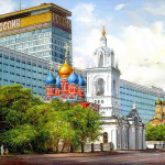 Rossiya hotel and church. The work of Fedoskino artists