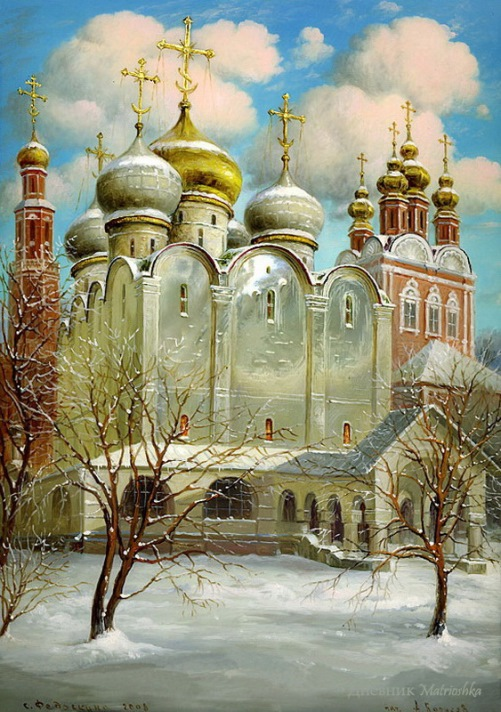 Moscow's Gold domes painting on lacquer boxes