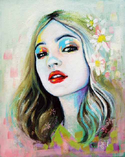 Colorful portrait of a girl. Female beauty in drawings by Australian artist Emma Uber
