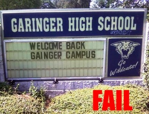 Garinger or gainger. Daft. Even with the correct spelling staring them in the face, somebody managed to get the name of this school completely wrong