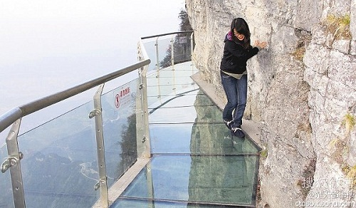 Glass Skywalk in Zhangjiajie National Forest Park in the Tianmen Mountain, China