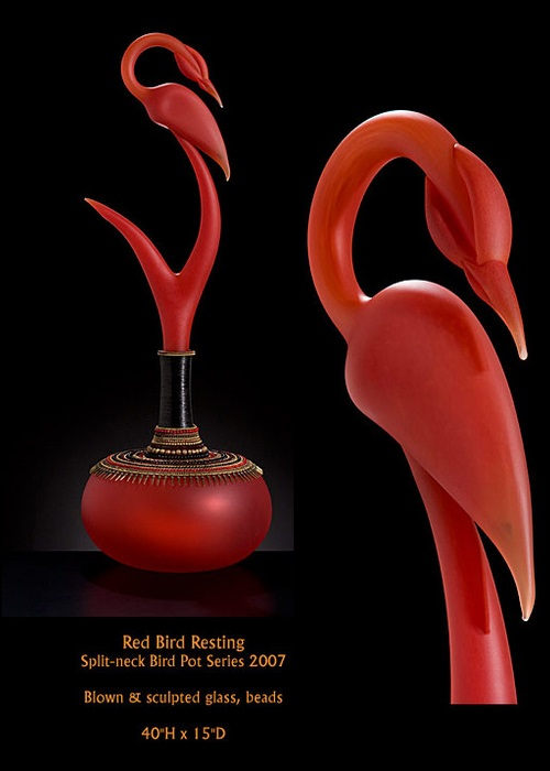 Red bird resting. Blown and sculpted glass art