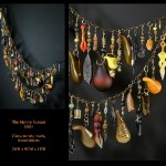 Beads, metal, glass and found objects jewelry decoration made by Jenny Pohlman and Sabrina Knowles