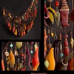 Memory unchained. 2008. Sculpted glass, antique beads, nuts, seeds, gold leaf, copper