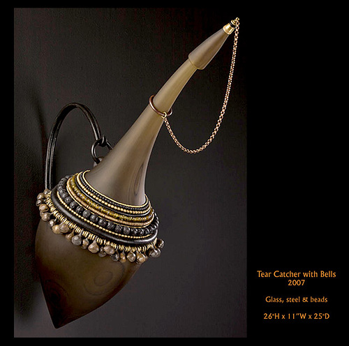 Tear catcher with bells. 2007. Glass, steel and beads
