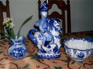 Horse rider – gussar, porcelain figurine, Gzhel