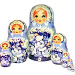 Traditional Russian dolls Matryoshka painted in Gzhel style