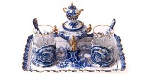 Miniature samovar, glass holders and even tea spoons. Gzhel