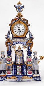 Desk top clocks, artful Gzhel