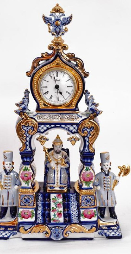 Desk top clocks, artful Gzhel