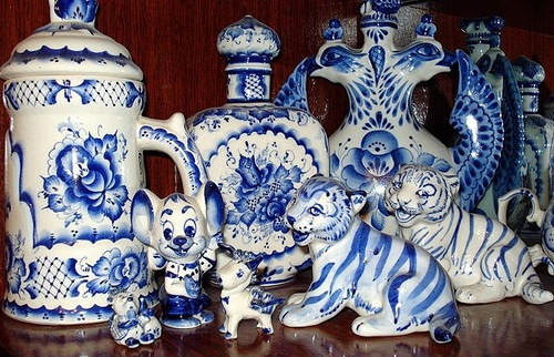 Beautiful Gzhel porcelain