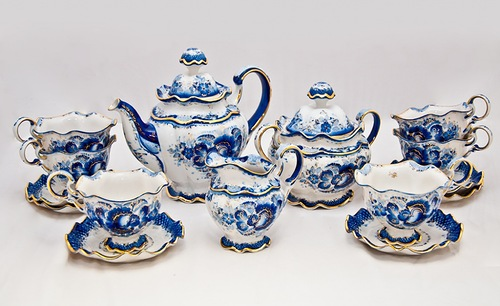 Tea set. Beautiful Gzhel porcelain
