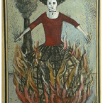 On fire, scary images on handcolored playing cards Eisbergfreistadt