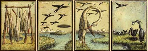 Fish, birds and exotic animals on playing cards Eisbergfreistadt
