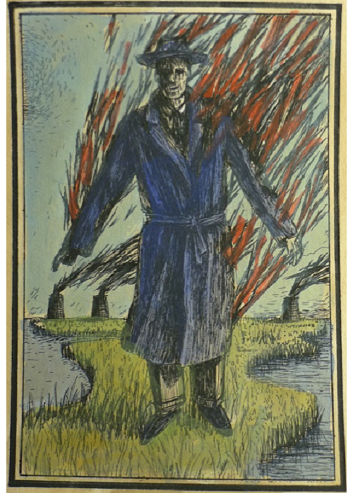 Bringing fire man. Handcolored playing cards Eisbergfreistadt