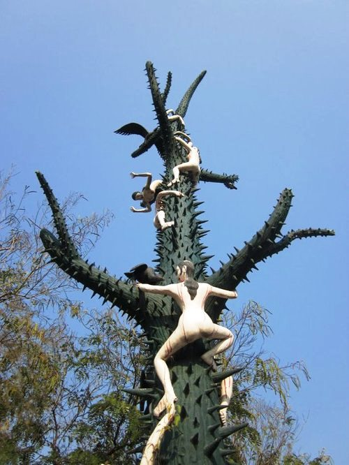 Naked people on a prickly tree