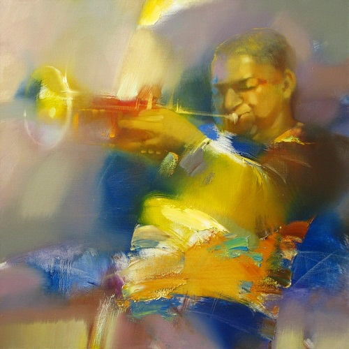 Blue and yellow. Playing the saksophone. Painting from the series 'Jazz' by Russian artist Denis Oktyabr